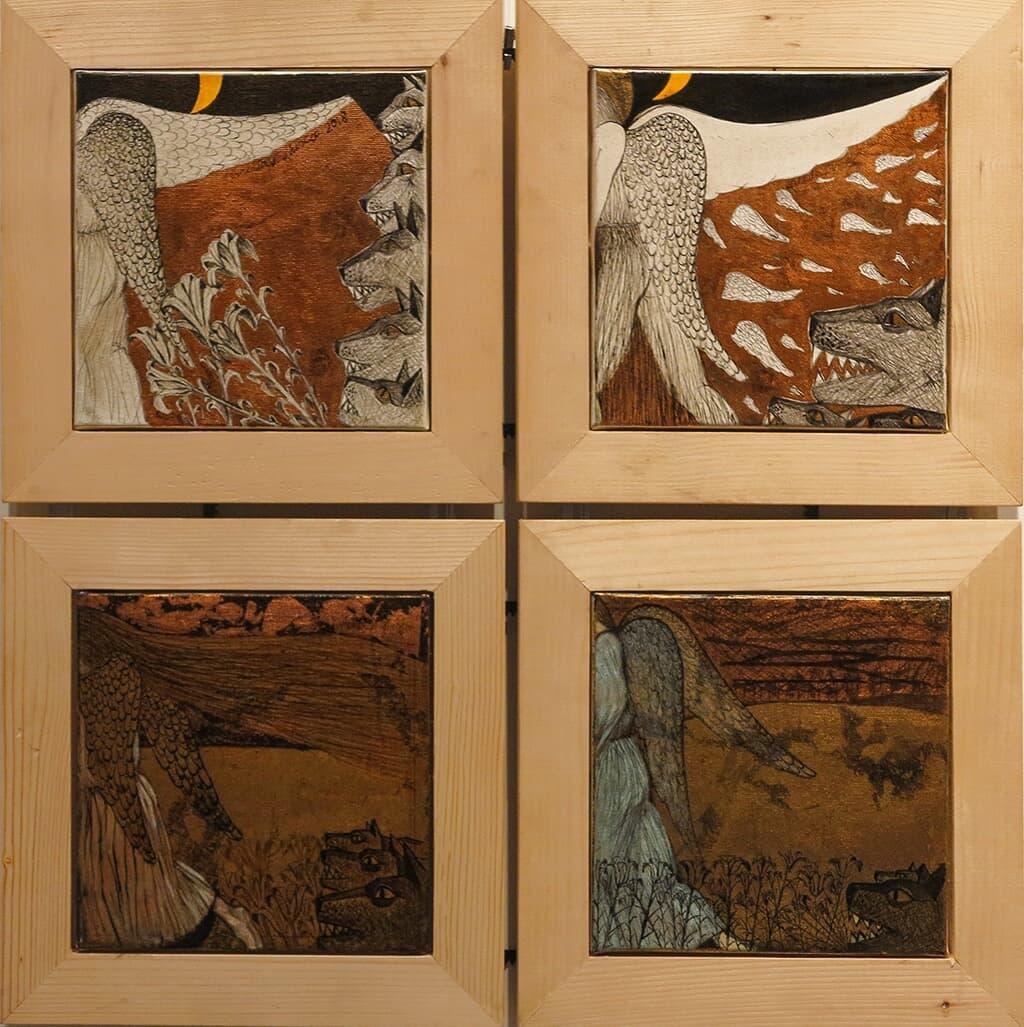 Îngeri plecând Galerie, Pictura