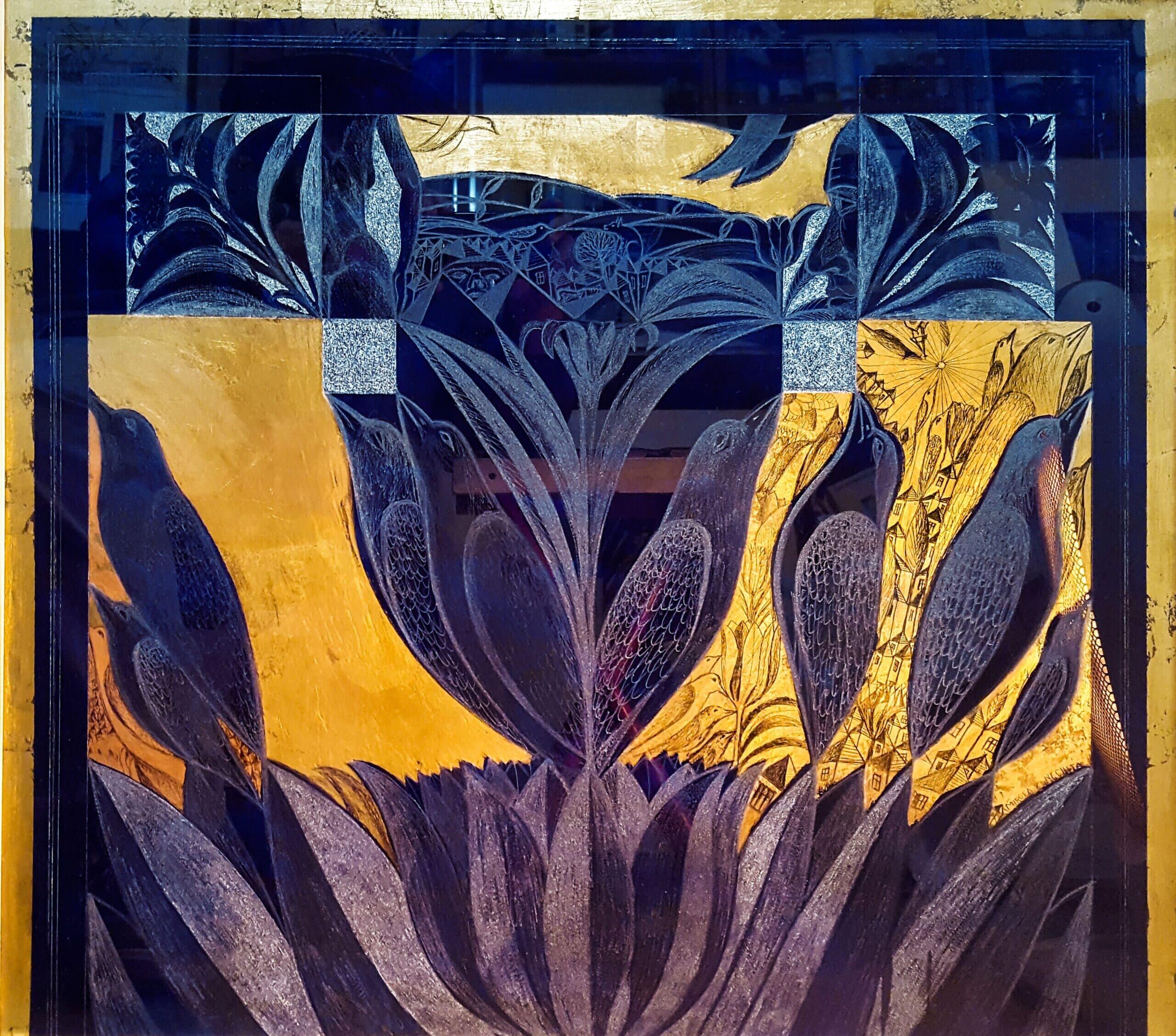 Peisaj cu păsări și flori Galerie, Homepage, Tehnica mixta